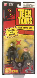 """Teen Titans Gizmo & Red X Robin 3.5"""" Action Figure Set NEW MOSC Bandai 2005 Go"""