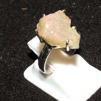 Ethiopian Welo Fire Opal Rough Gemstone 925 Sterling Silver Designer Women Ring