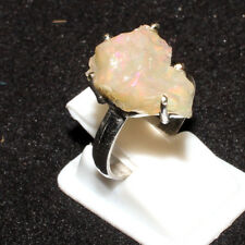 Ethiopian Welo Fire Opal Rough Gemstone 925 Sterling Silver Designer Women Ring