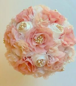 Blush Brooch Bride Bouquet or Quinceanera Bouquet, with Pearl and Crystal Brooch