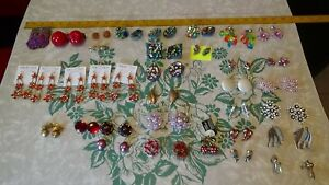LOT OF COLORFUL Dangle Drop & Clip On  Earrings