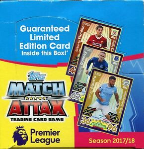 Topps Match Attax Football 2017/18 Trading Card Booster Box - 50 Packs