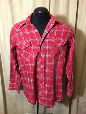 Mens Vtg 70s Wrangler Western Shirt 17 XL/L Red Plaids Long Sleeve Poly/cot