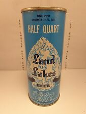 LAND OF LAKES HALF QUART 16 oz FAT TOP BEER CAN #232-1 PILSEN BREWING, CHICAGO