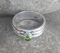 Peridote Stone Solid 925 Sterling Silver Spinner Ring Meditation Ring Size  s123