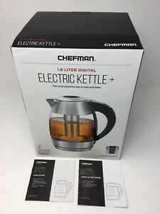 Chefman 1.8L Digital Electric Glass Kettle, Stainless Steel, Rapid Boil, New