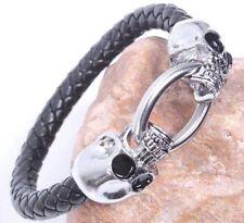 Skull Leather Bracelet, Skeleton, Gothic, Punk, Biker, Viking, Chain, Rock - UK