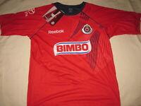 Reebok Chivas Training T Soccer Jersey Bimbo Mexico Men's L Sol Toyota Red NWT