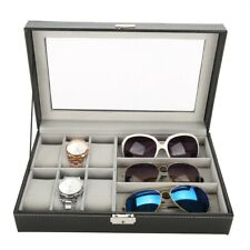 PU Leather 3 Grid Sunglasses 6 Cell Watch Display Storage Box Case Organizer