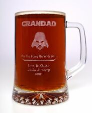 Personalised STAR WARS DARTH VADER Pint Glass TANKARD Gift For Fathers Day/Daddy