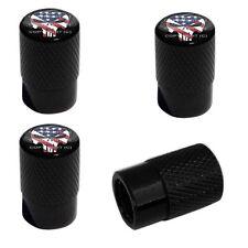 4 Black Billet Aluminum Knurled Tire Air Valve Stem Caps - PUNISHER SKULL WN3