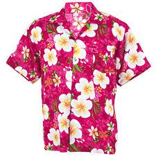 Hawaiian Shirt Aloha Big Plumeria Frangipani Holiday Sea Beach Pink XXL hf258p