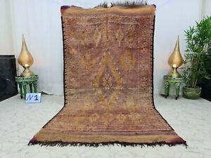 """Moroccan Vintage Handmade Rug 4'9""""x9'1""""  Berber Geometric Faded Purple Wool Rug"""