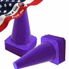 """9"""" Tall Purple Cones Sports Training Safety Cone Qty 12"""