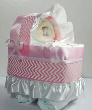 Diaper Cake - Bassinet Carriage Girl Baby Shower Gift - Pink/White Chevron