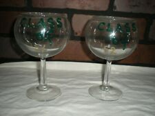 """2 VINTAGE WINE GLASSES WITH """"CLASS OF 52"""" PRINTED ON THEM"""