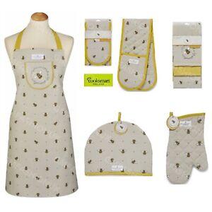 Cooksmart Organic Bee Double Oven Single Gloves Mitt Apron Tea Towel Gauntlet