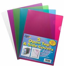 5 x A4 Gloss Coloured Plastic Open Top & Side Report File Project Cover 301244