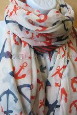 Anchor Print Scarf Big Ladies Christmas Gift Holiday/Gift/Sarong/Nautical Wrap
