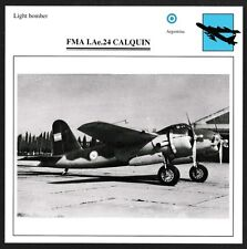 Argentina FMA I.Ae.24 CALQUIN Light Bomber Warplane Card - I Combine S/H