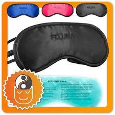 Feluna Premium Schlafmaske & Kühlkissen; Augenmaske Schlafbrille aus Satin-Seide