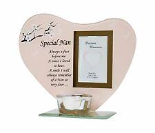 Special Nan Photo Frame Tea Light Holder Glass Memorial Ornament Plaque Pink
