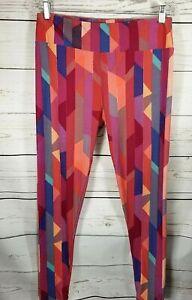 LuLaRoe Tall and Curvy Leggings Pink Red Blue Purple Geometric Pattern LLR