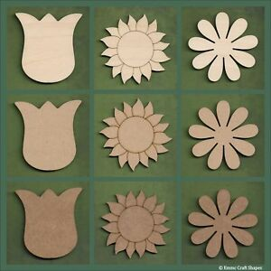 Wooden flower shapes for crafts Tulip sunflower Daisy MDF and plywood blanks