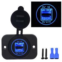 5V 3.1A Blue LED Dual USB Power Supply Socket for RVMarine/Motorcycle/Camper