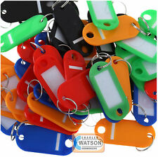 Pack 100 KEY TAGS Assorted Coloured Plastic Rings for ID Tags Card FOB Label Car