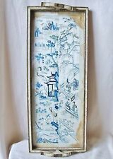"22.8"" Tray Framed Antique Chinese Blue & White Embroidery Silk Sleeve Cuffs"