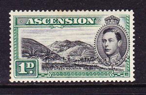 ASCENSION 1938 1d BLACK/GREEN KGVI MH P 13 1/2 SG 39