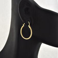 Simple Beauty 14K Solid Gold  Rope Motif Hoop Round Earrings 20 mm in diameter