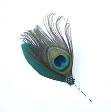 Bottle Dark Green Peacock Feather Diamante Hair Grip Bobby Pin Fascinator 6713