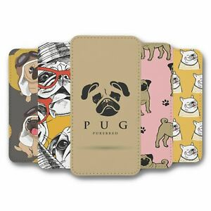 For iPhone 12 & 12 Pro Flip Case Cover Pug Collection 2