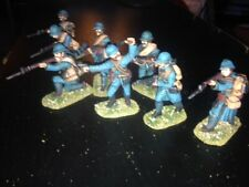 8 Painted 1/32 54mm - World War One WWI French Infantry w Officer & Machine Gun