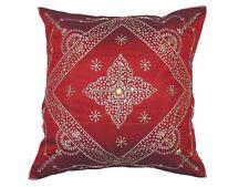 "Decorative Burgundy Beaded Handmade Pillow Cover Floor Lounge Euro Cushion 26"""