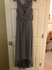 Vince Camuto Illusion Neck High Low Gown NEW GRAY JEWEL SIZE 4