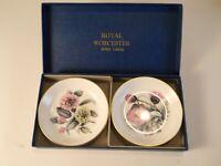 "Royal Worcester Fine Bone China 4"" Vintage Tea/Butter Pat Plates/Original Box"
