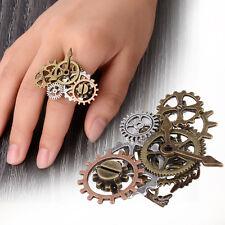 Gothic Steampunk Combination Clock Mechanical Gear Finger Ring Women Men Jewelry