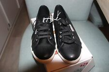 BRAND NEW W/O Superga BLACK Leather Slim Sole Sneakers Women's Size 10