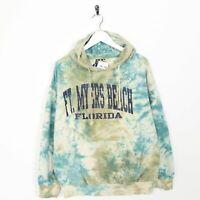 Vintage Novelty Graphic Tye Dye Hoodie Sweatshirt Blue Green   Medium M