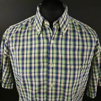 Lacoste Mens Vintage Shirt XL Short Sleeve Green Regular Fit Check Cotton