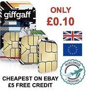 Giffgaff Nano/Micro/Standard SIM FREE £5 Credit Unlimited Data 4G EU roaming