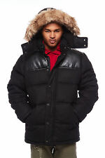 Mens Pu Puffy Heavy Thick Faux Fur Warm Winter Coat Jacket OMR333H