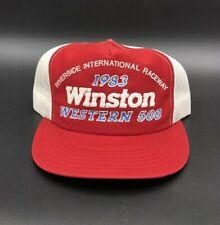 Vintage 1983 Winston Western 500 Riverside Raceway Trucker Mesh Race Hat NASCAR