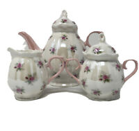 Graces Teaware Porcelain Ivory With Pink Handles & Roses Teapot Set  3 Piece