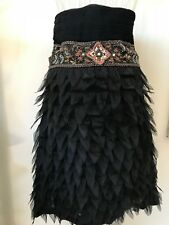 StraplessBlack Party Dress SIZE 12 Textured Beaded with Appliqued Chiffon Petals