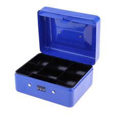 MINI PORTABLE PASSWORD LOCKING CASH BOX SECURITY STORAGE COIN CHECK Blue