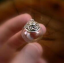 10 Glass Balls w/ WAVE DESIGN small mini vials pendants bottles waves ornaments